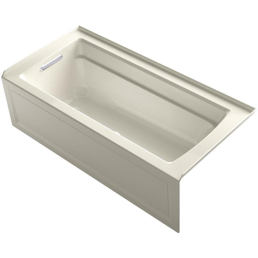 KOHLER Archer 66-in L x 32-in W x 19-in H Almond Acrylic Rectangular Alcove Air Bath