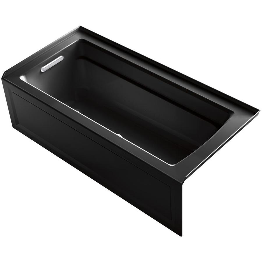 KOHLER Archer 66-in Black Black Acrylic Alcove Air Bath with Left-Hand Drain
