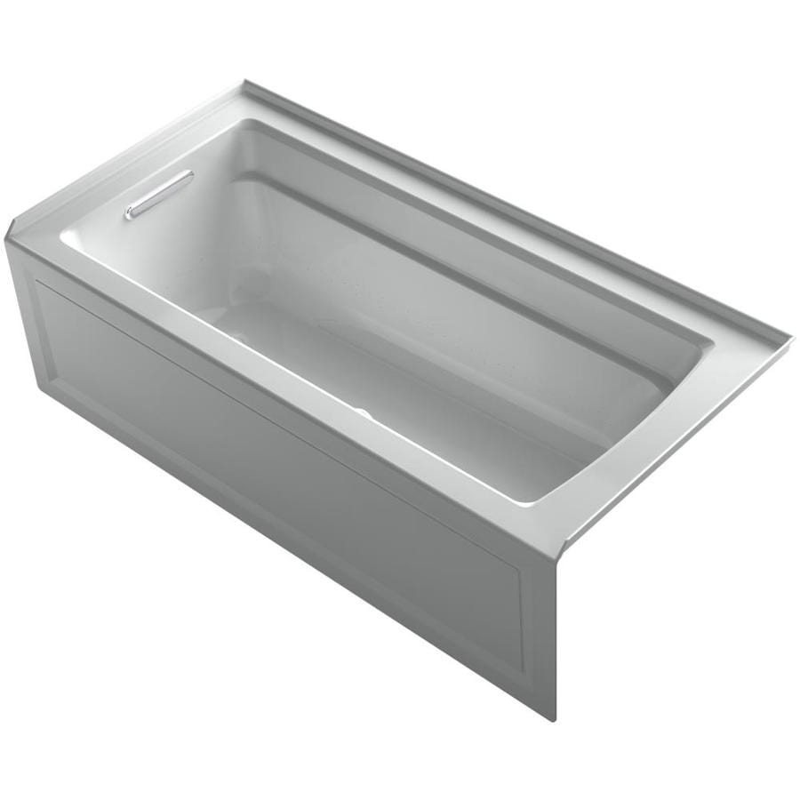 KOHLER Archer 66-in Ice Grey Acrylic Alcove Air Bath with Left-Hand Drain