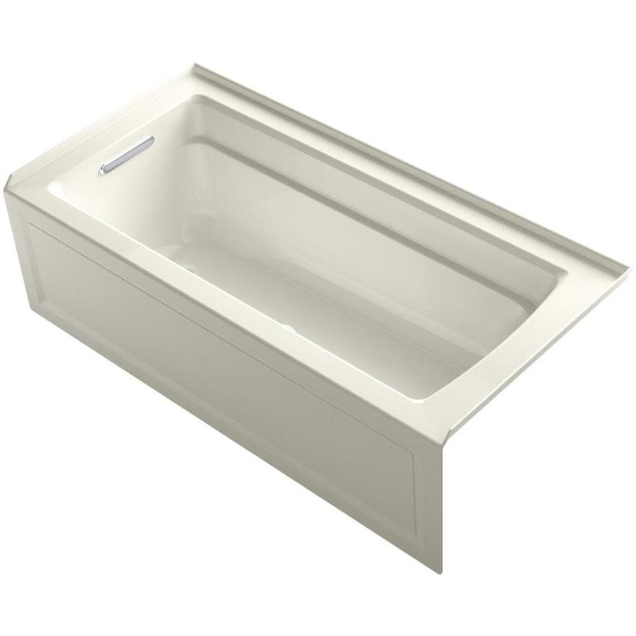 KOHLER Archer 66-in L x 32-in W x 19-in H Biscuit Acrylic Rectangular Alcove Air Bath