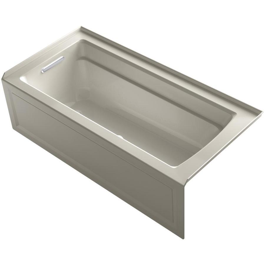 KOHLER Archer 66-in Sandbar Acrylic Alcove Air Bath with Left-Hand Drain