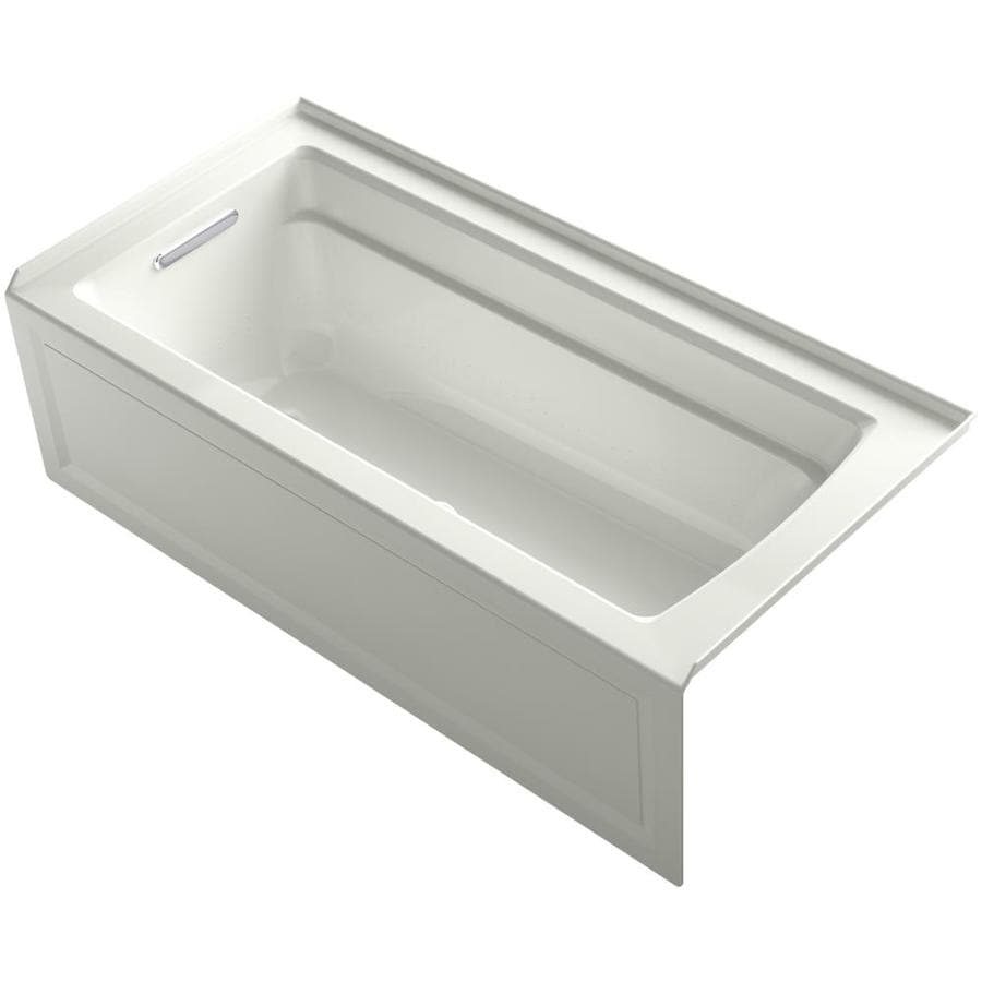 Shop KOHLER Archer 66 In Dune Acrylic Alcove Air Bath With Left Hand Drain At