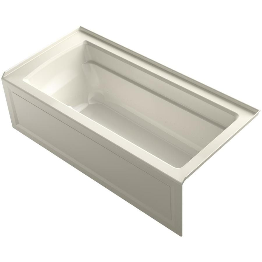 KOHLER Archer 66-in L x 32-in W x 19-in H Almond Acrylic Rectangular Alcove Air Bath