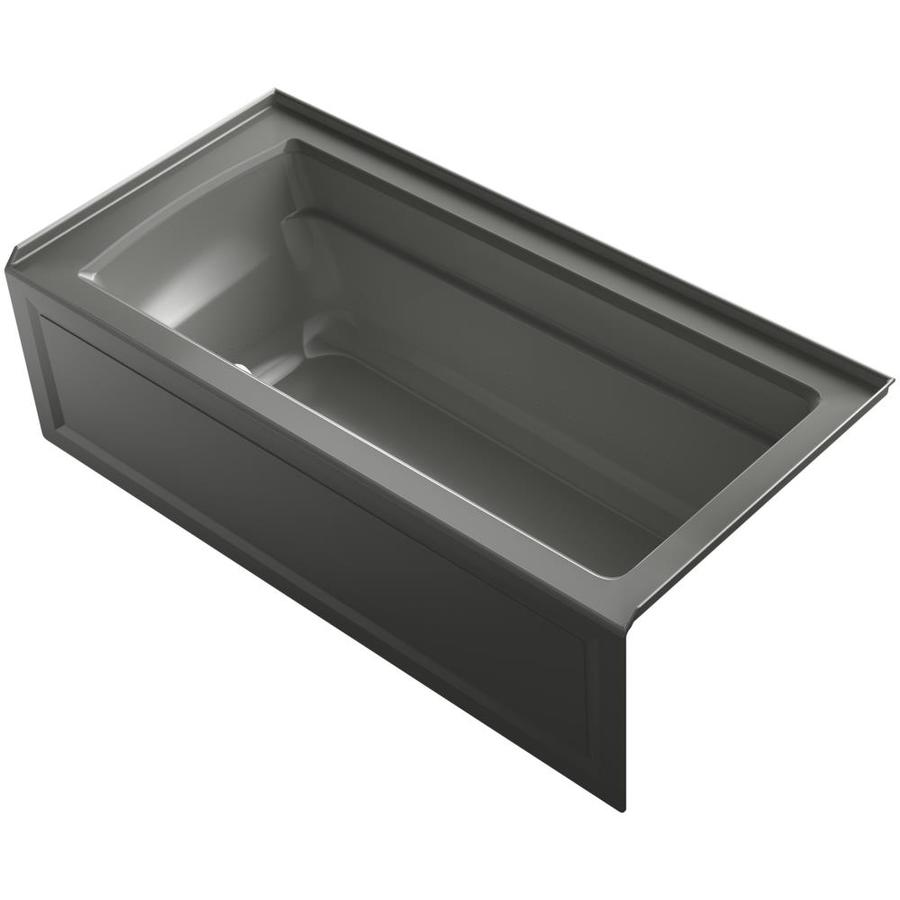 KOHLER Archer 66-in Thunder Grey Acrylic Alcove Air Bath with Right-Hand Drain
