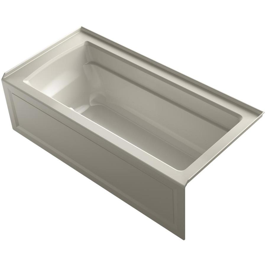 KOHLER Archer 66-in Sandbar Acrylic Alcove Air Bath with Right-Hand Drain