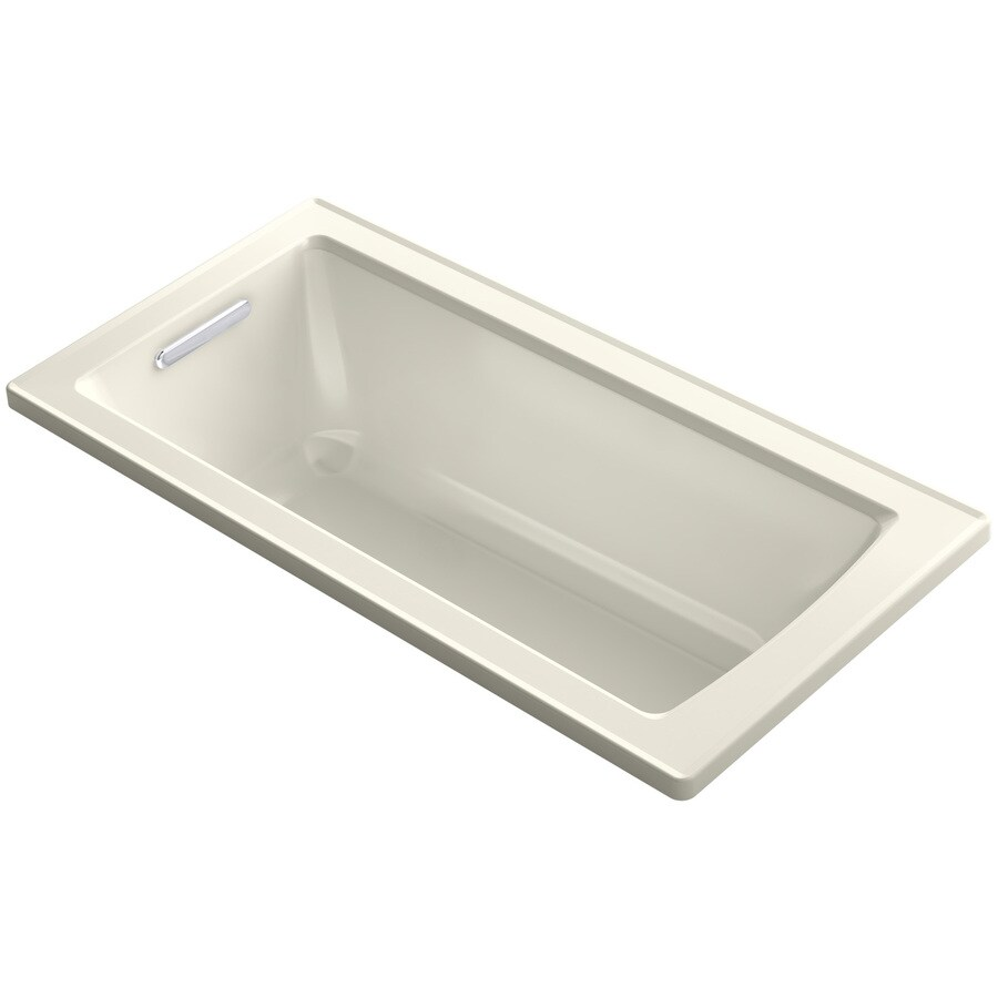 KOHLER Archer Biscuit Acrylic Rectangular Drop-in Bathtub with Reversible Drain (Common: 30-in x 60-in; Actual: 19-in x 30-in x 60-in)