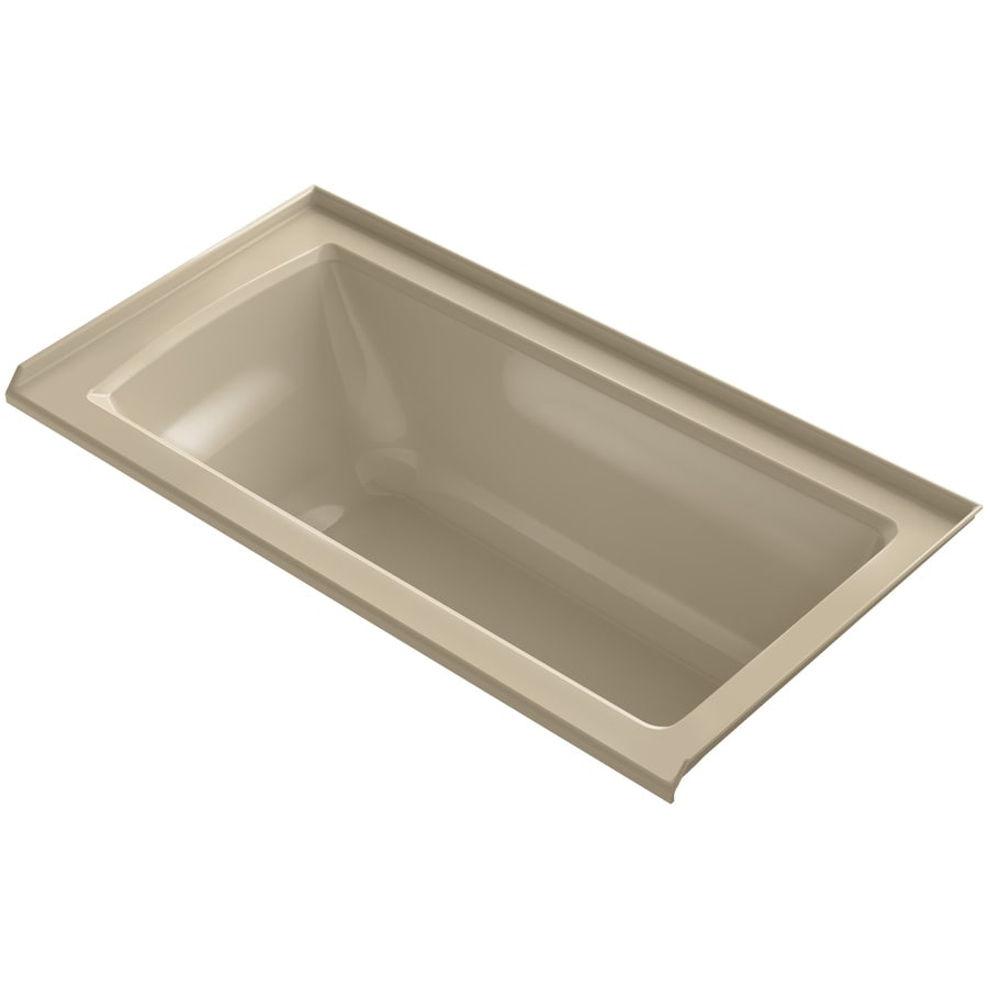 KOHLER Archer Mexican Sand Acrylic Rectangular Alcove Bathtub with Right-Hand Drain (Common: 30-in x 60-in; Actual: 19-in x 30-in x 60-in)