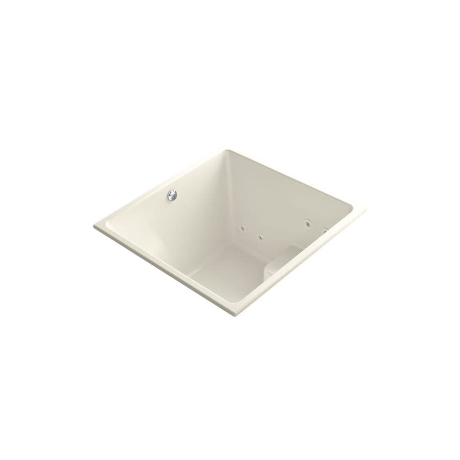 KOHLER Underscore 48-in Biscuit Acrylic Drop-In Air Bath with Reversible Drain