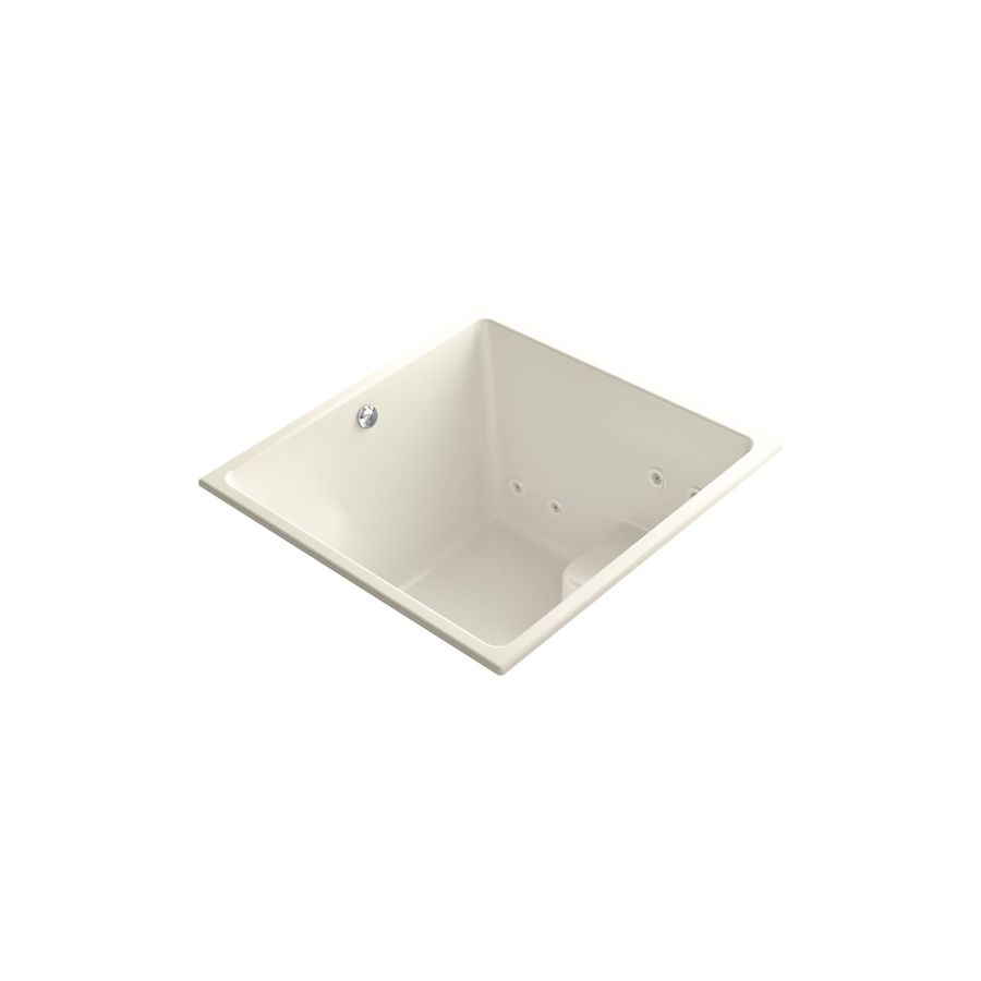 KOHLER Underscore 48-in L x 48-in W x 35-in H Biscuit Acrylic Rectangular Drop-in Air Bath