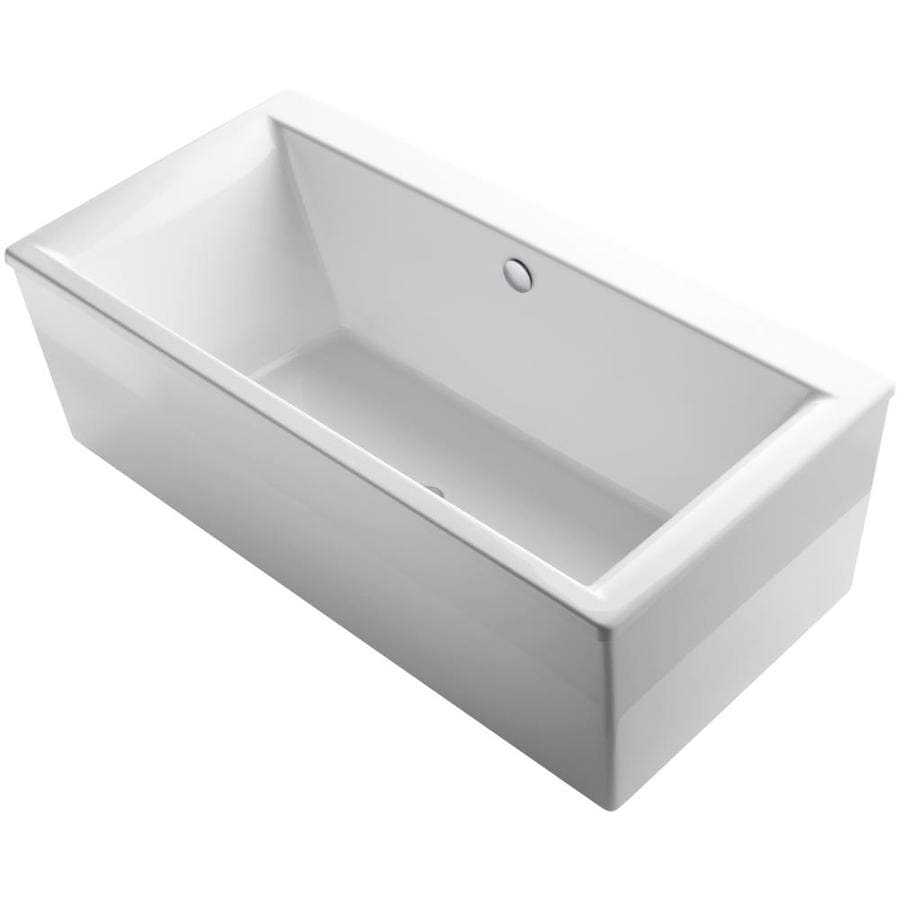 Shop kohler stargaze 72 in white acrylic freestanding for How deep is a normal bathtub