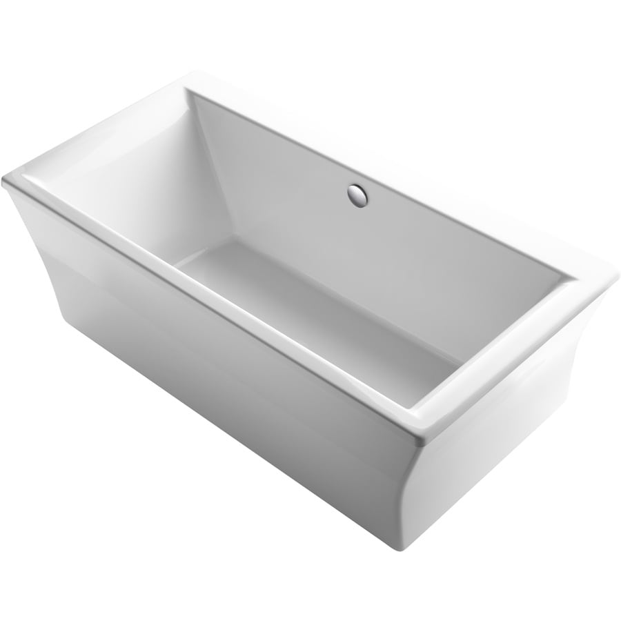 Kohler Stargaze 72 In White Acrylic Rectangular Center Drain Freestanding Bathtub