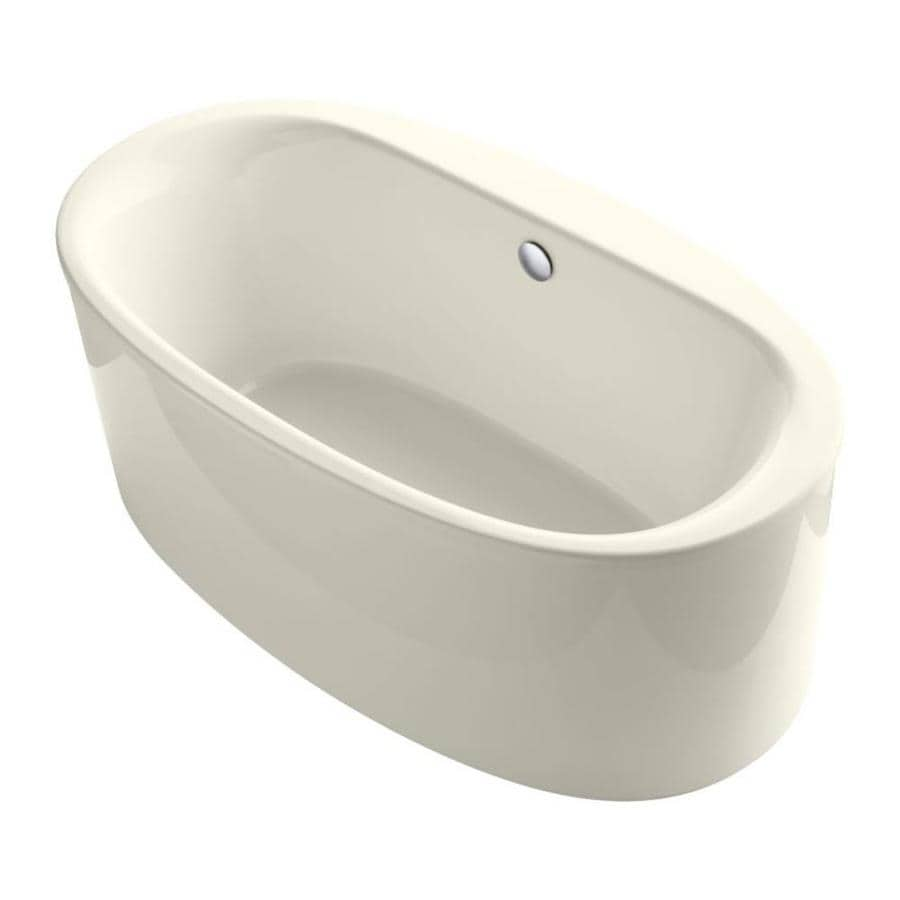 KOHLER Sunstruck 66-in Biscuit Acrylic Freestanding Bathtub with Center Drain
