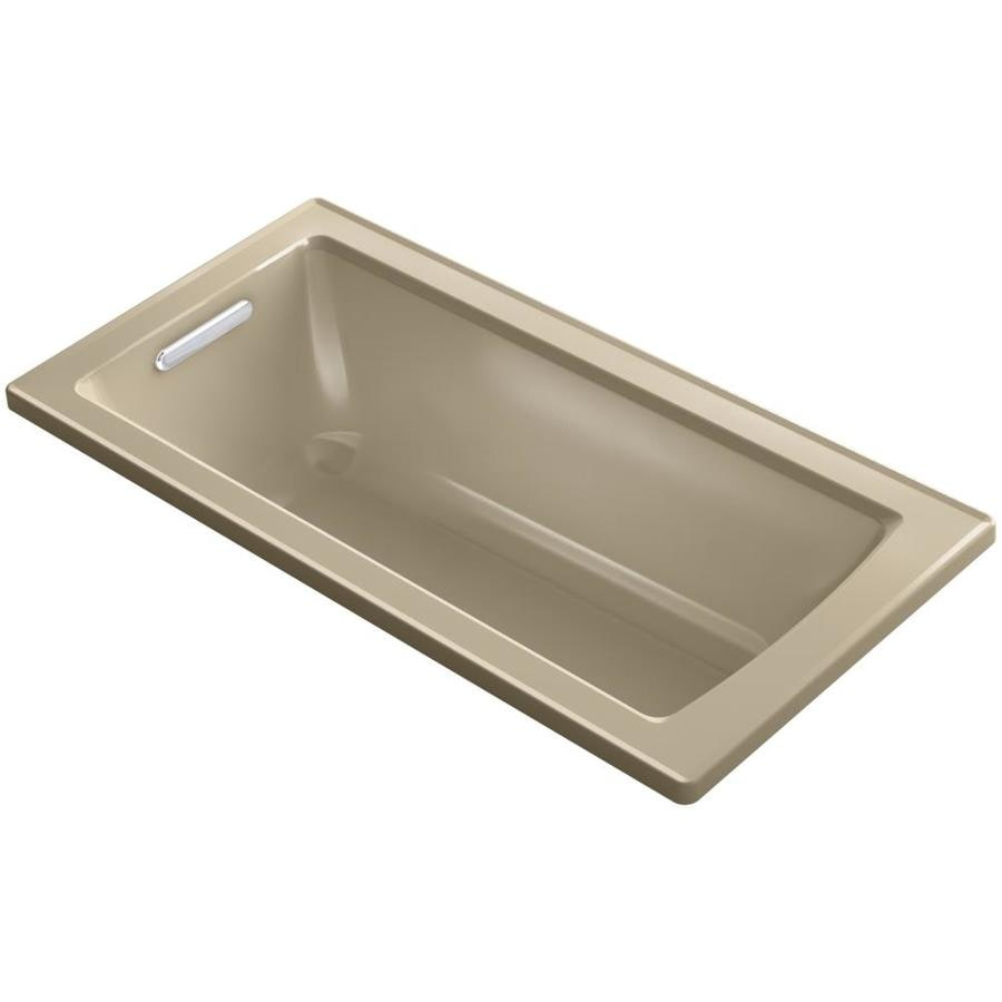 KOHLER Archer Mexican Sand Acrylic Rectangular Drop-in Bathtub with Reversible Drain (Common: 30-in x 60-in; Actual: 19.0-in x 30.0-in x 60.0-in)
