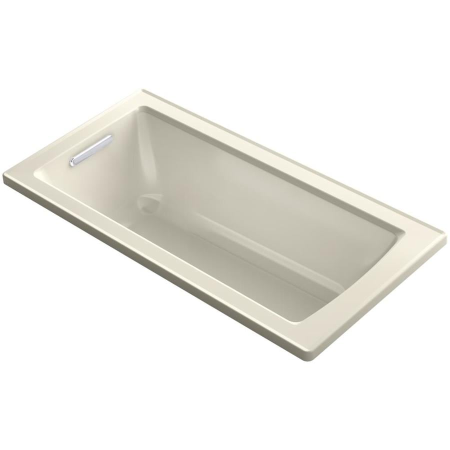 KOHLER Archer Almond Acrylic Rectangular Drop-in Bathtub with Reversible Drain (Common: 30-in x 60-in; Actual: 19-in x 30-in x 60-in)
