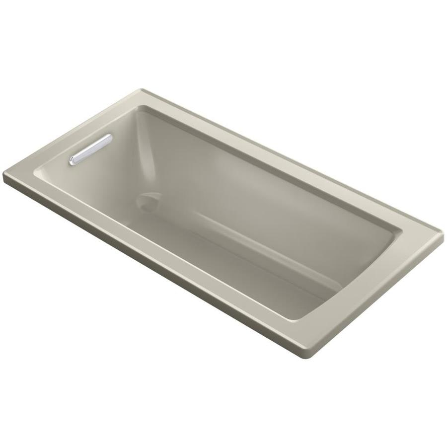 KOHLER Archer Sandbar Acrylic Rectangular Drop-in Bathtub with Reversible Drain (Common: 30-in x 60-in; Actual: 19.0000-in x 30.0000-in x 60.0000-in)