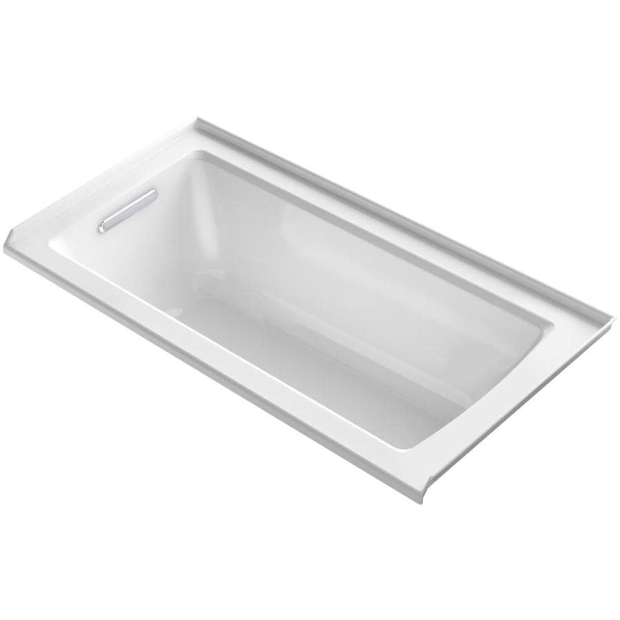 KOHLER Archer White Acrylic Rectangular Alcove Bathtub with Left-Hand Drain (Common: 30-in x 60-in; Actual: 20.25-in x 30-in x 60-in)