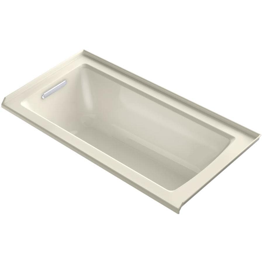 KOHLER Archer Almond Acrylic Rectangular Alcove Bathtub with Left-Hand Drain (Common: 30-in x 60-in; Actual: 20.25-in x 30-in x 60-in)