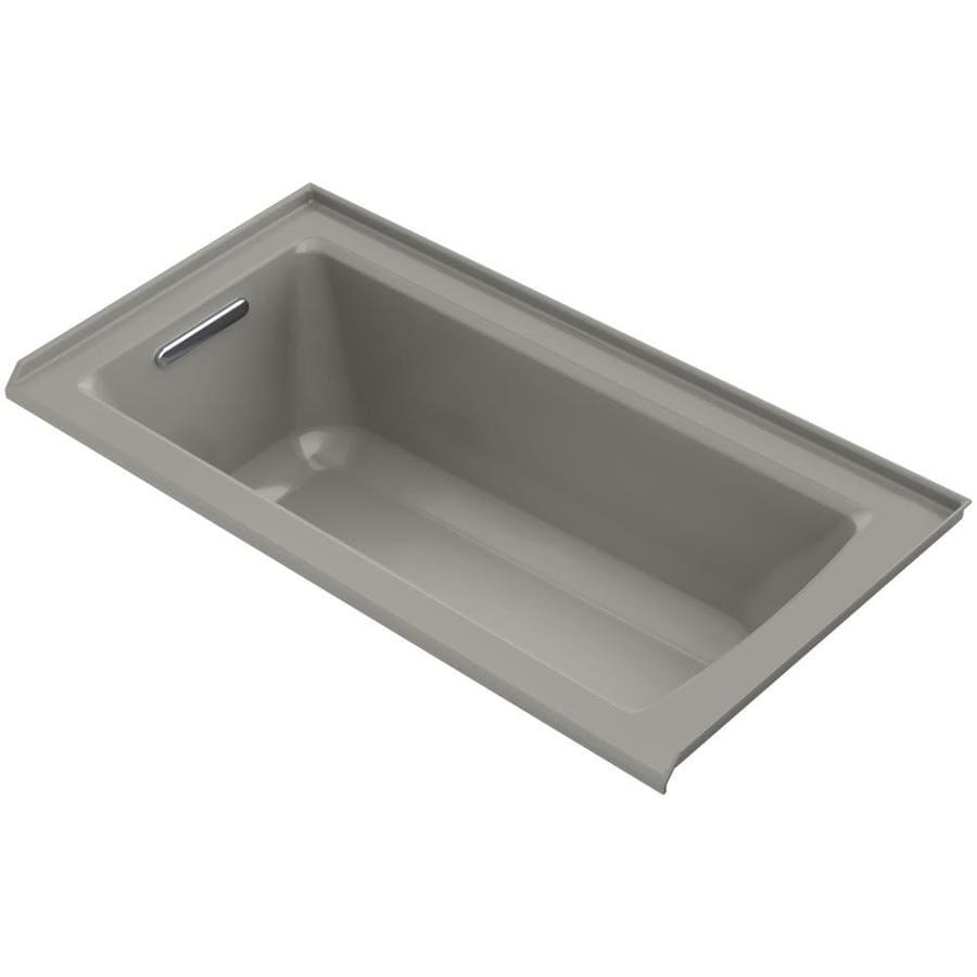 KOHLER Archer 60-in Cashmere Acrylic Alcove Bathtub with Left-Hand Drain