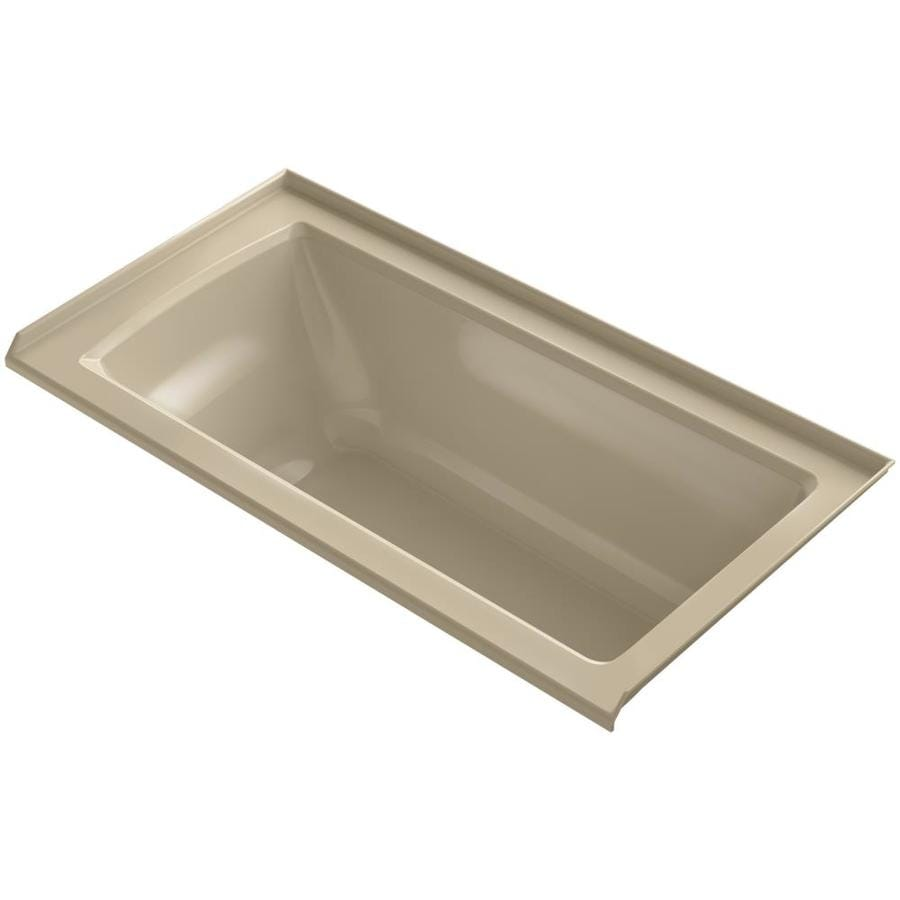 KOHLER Archer Mexican Sand Acrylic Rectangular Alcove Bathtub with Right-Hand Drain (Common: 30-in x 60-in; Actual: 20.25-in x 30-in x 60-in)