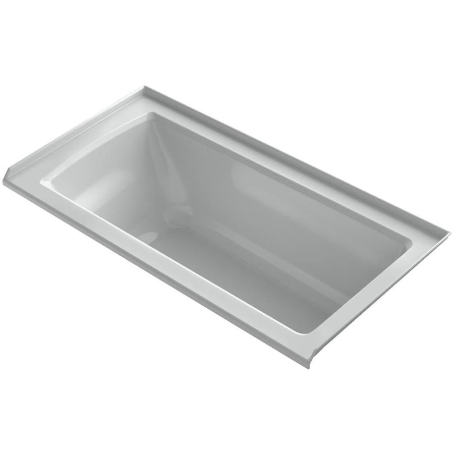 KOHLER Archer Ice Grey Acrylic Rectangular Alcove Bathtub with Right-Hand Drain (Common: 30-in x 60-in; Actual: 20.25-in x 30-in x 60-in)