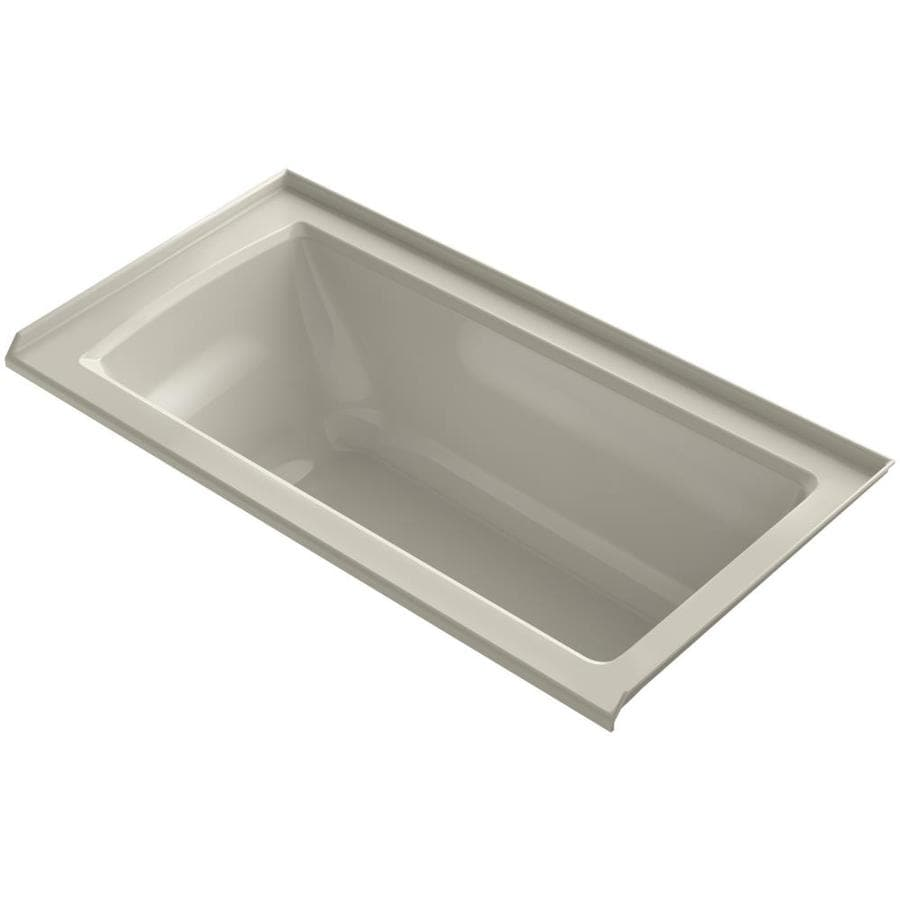 KOHLER Archer Sandbar Acrylic Rectangular Alcove Bathtub with Right-Hand Drain (Common: 30-in x 60-in; Actual: 20.25-in x 30-in x 60-in)