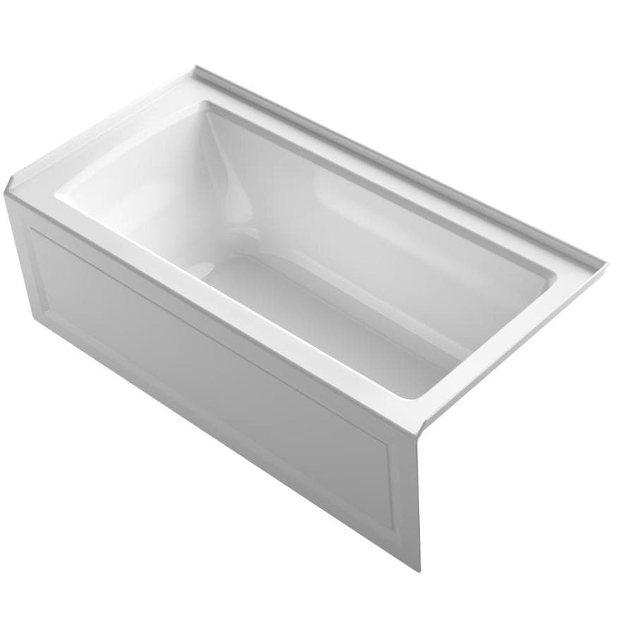 KOHLER Archer 60-in White Acrylic Alcove Whirlpool Tub with Right-Hand Drain