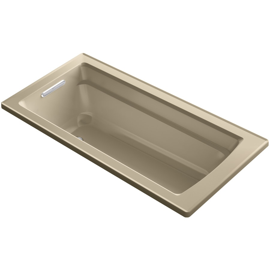 KOHLER Archer 66-in Mexican Sand Acrylic Drop-In Whirlpool Tub with Reversible Drain