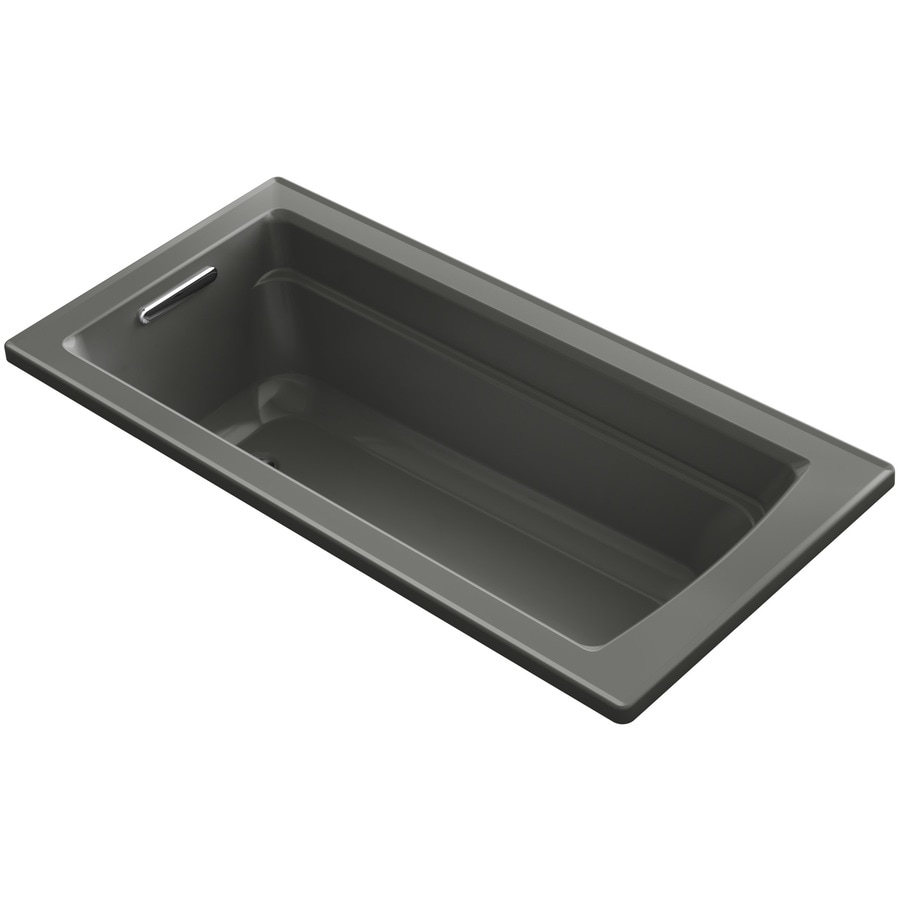 KOHLER Archer 66-in Thunder Grey Acrylic Drop-In Whirlpool Tub with Reversible Drain