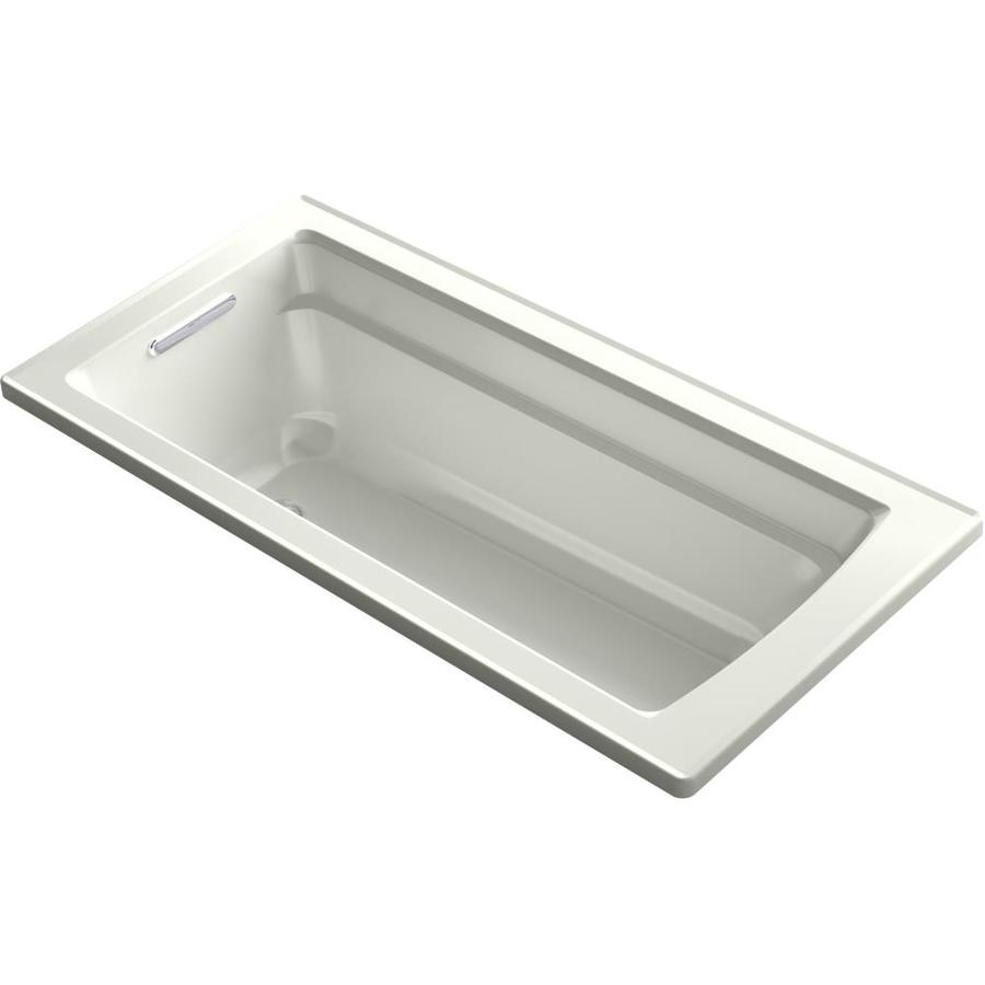 KOHLER Archer 66-in Dune Acrylic Drop-In Whirlpool Tub with Reversible Drain
