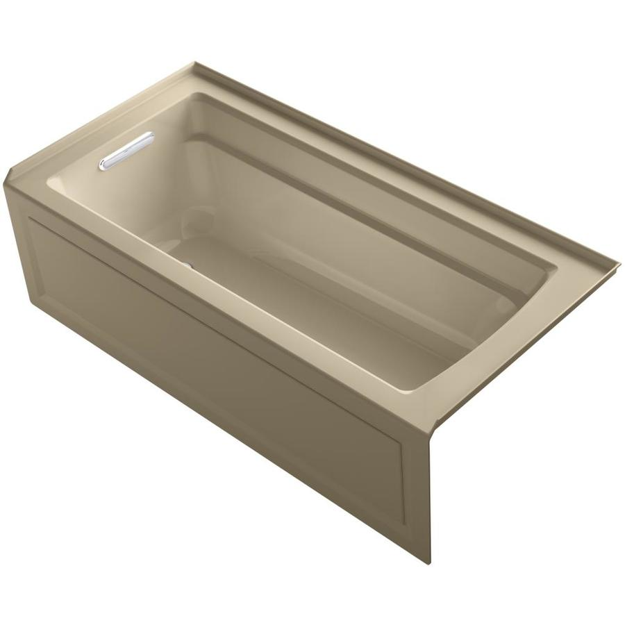 KOHLER Archer 66-in Mexican Sand Acrylic Alcove Whirlpool Tub with Left-Hand Drain