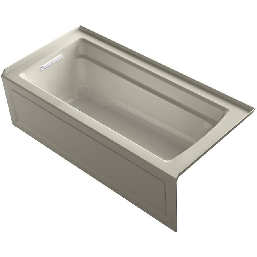 KOHLER Archer Sandbar Acrylic Rectangular Alcove Whirlpool Tub (Common: 32-in x 66-in; Actual: 20.25-in x 32-in)