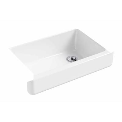 Whitehaven 32.5-in x 21.56-in White Single-Basin Short (7-in or Less)  Undermount Apron Front/Farmhouse Residential Kitchen Sink