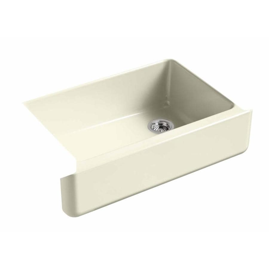KOHLER Whitehaven 21.5625-in x 32.6875-in Cane Sugar Single-Basin Cast Iron Apron Front/Farmhouse Residential Kitchen Sink