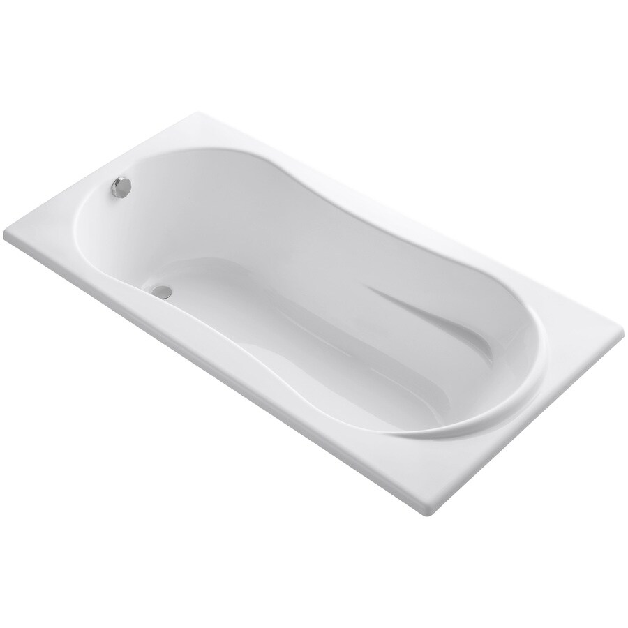 KOHLER ProFlex White Acrylic Hourglass In Rectangle Drop-in Bathtub with Reversible Drain (Common: 36-in x 72-in; Actual: 20.13-in x 36-in x 72-in)