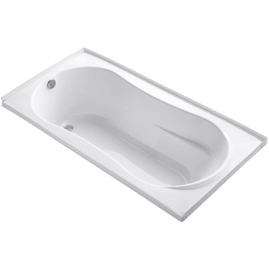 KOHLER ProFlex White Acrylic Hourglass In Rectangle Drop-in Bathtub with Left-Hand Drain (Common: 36-in x 72-in; Actual: 20.13-in x 36-in x 72-in)