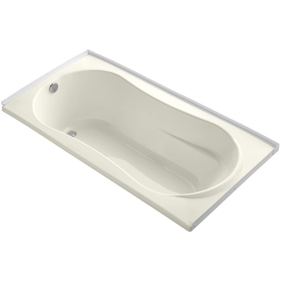KOHLER ProFlex Biscuit Acrylic Hourglass In Rectangle Drop-in Bathtub with Left-Hand Drain (Common: 36-in x 72-in; Actual: 20.13-in x 36-in x 72-in)