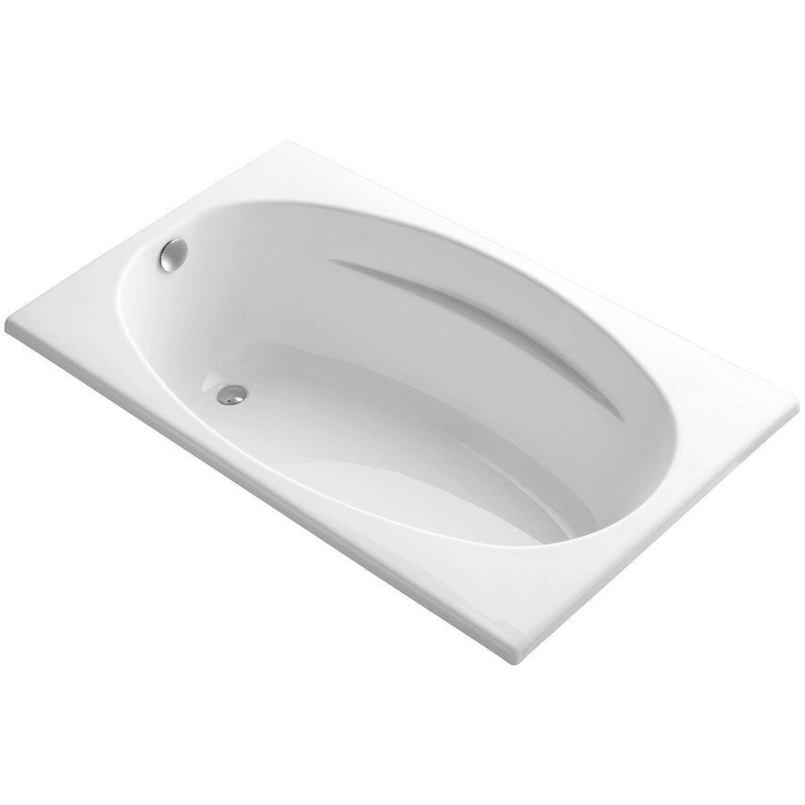 KOHLER ProFlex White Acrylic Oval In Rectangle Drop-in Bathtub with Reversible Drain (Common: 36-in x 60-in; Actual: 18.13-in x 36-in x 60-in)