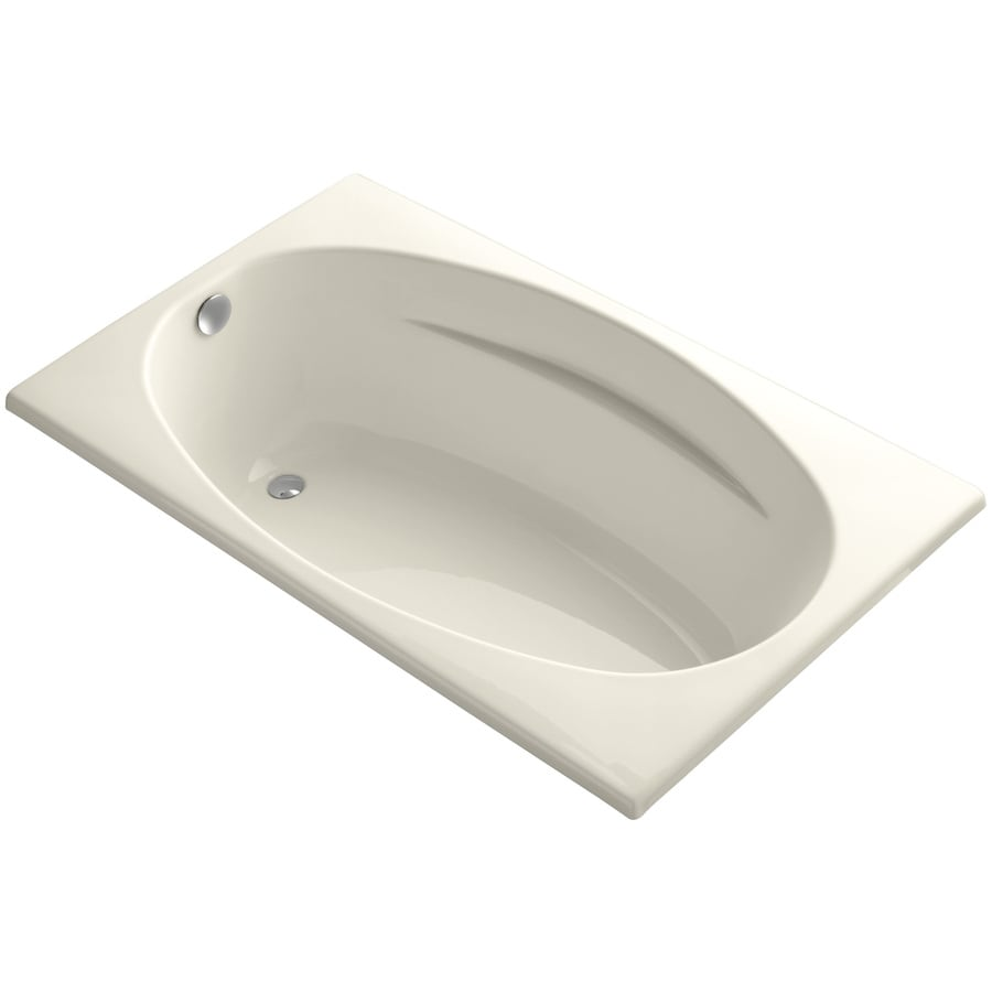 KOHLER ProFlex Almond Acrylic Oval In Rectangle Drop-in Bathtub with Reversible Drain (Common: 36-in x 60-in; Actual: 18.13-in x 36-in x 60-in)