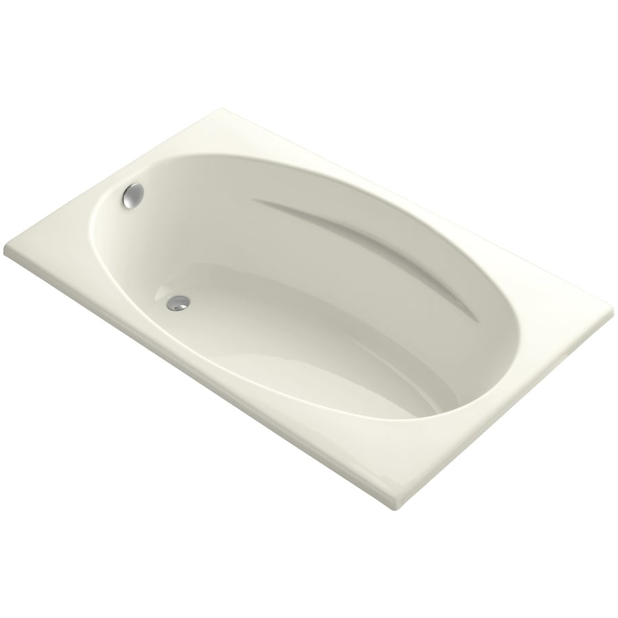 KOHLER ProFlex Biscuit Acrylic Oval In Rectangle Drop-in Bathtub with Reversible Drain (Common: 36-in x 60-in; Actual: 18.13-in x 36-in x 60-in)