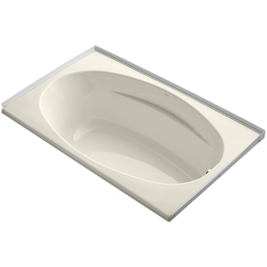 KOHLER ProFlex Almond Acrylic Oval In Rectangle Drop-in Bathtub with Right-Hand Drain (Common: 36-in x 60-in; Actual: 18.13-in x 36-in x 60-in)