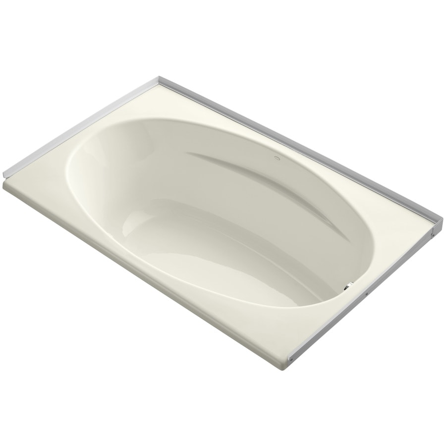KOHLER ProFlex Biscuit Acrylic Oval In Rectangle Drop-in Bathtub with Right-Hand Drain (Common: 36-in x 60-in; Actual: 18.13-in x 36-in x 60-in)