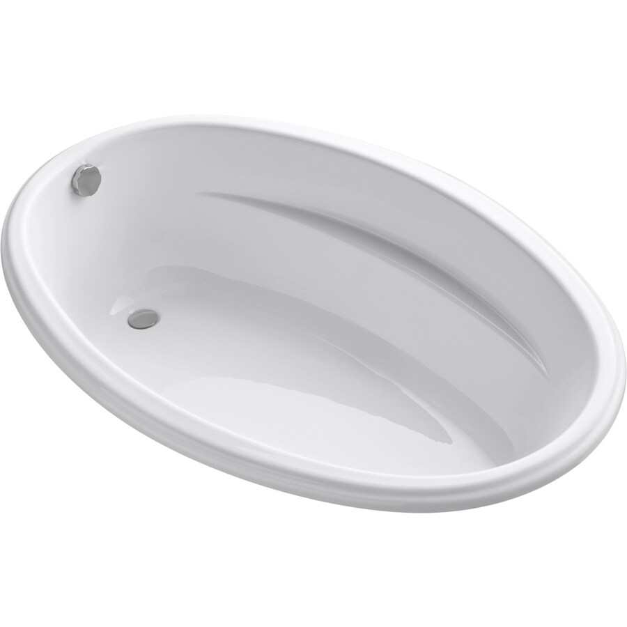 KOHLER ProFlex White Acrylic Oval Drop-in Bathtub with Reversible Drain (Common: 40-in x 60-in; Actual: 17.63-in x 40-in x 60-in)