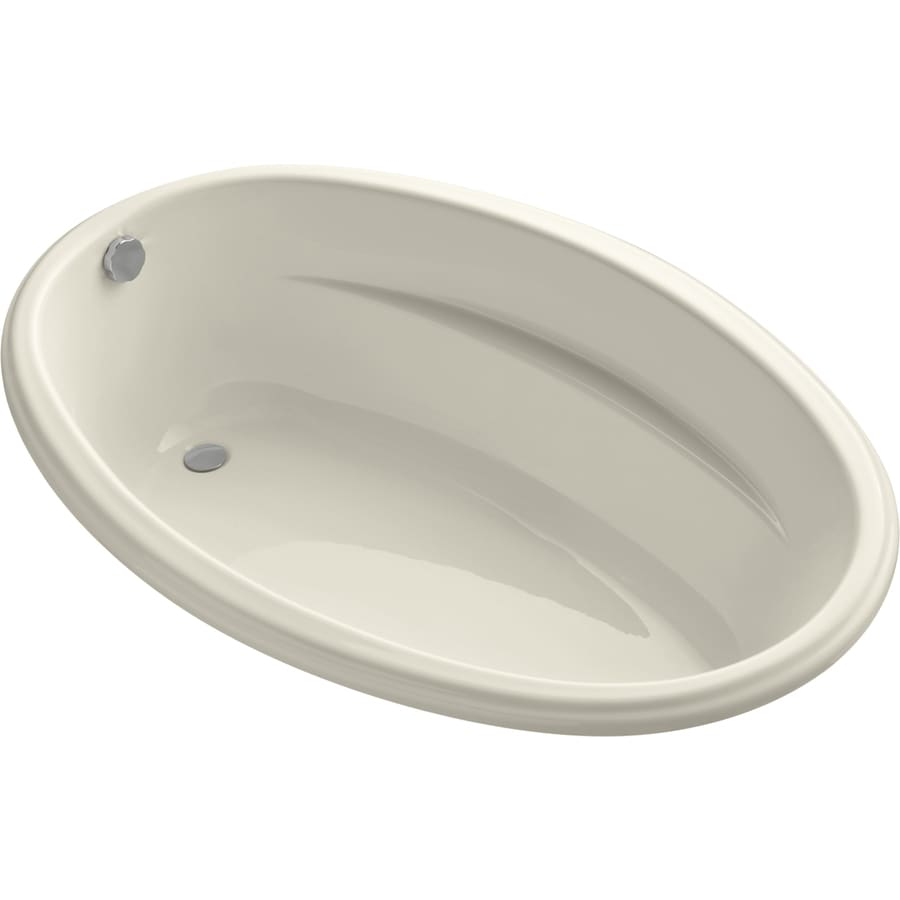 KOHLER ProFlex Almond Acrylic Oval Drop-in Bathtub with Reversible Drain (Common: 40-in x 60-in; Actual: 17.63-in x 40-in x 60-in)