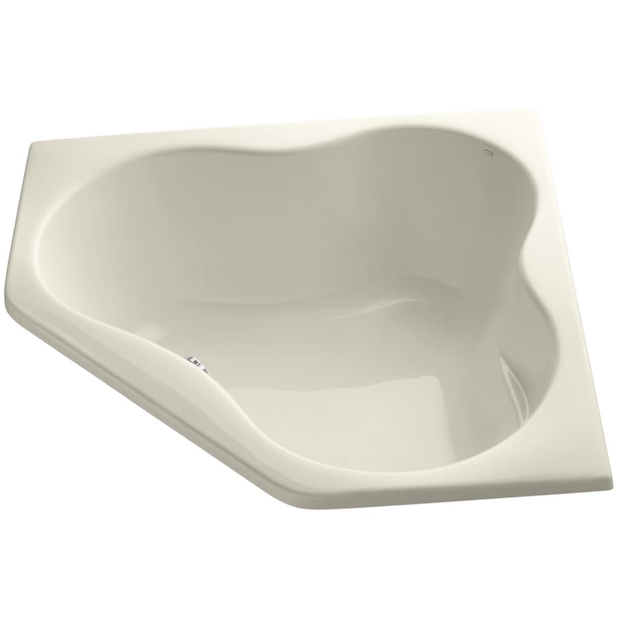 KOHLER ProFlex Almond Acrylic Corner Drop-in Bathtub with Center Drain (Common: 54-in x 54-in; Actual: 20.5-in x 54-in x 54-in)