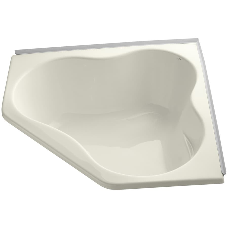 KOHLER ProFlex Biscuit Acrylic Corner Drop-in Bathtub with Center Drain (Common: 54-in x 54-in; Actual: 20.5-in x 54-in x 54-in)