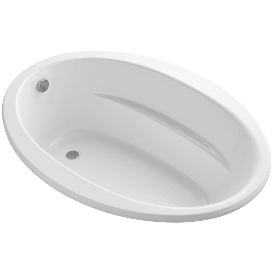KOHLER Sunward White Acrylic Oval Drop-in Bathtub with Reversible Drain (Common: 42-in x 60-in; Actual: 20-in x 42-in x 60-in)