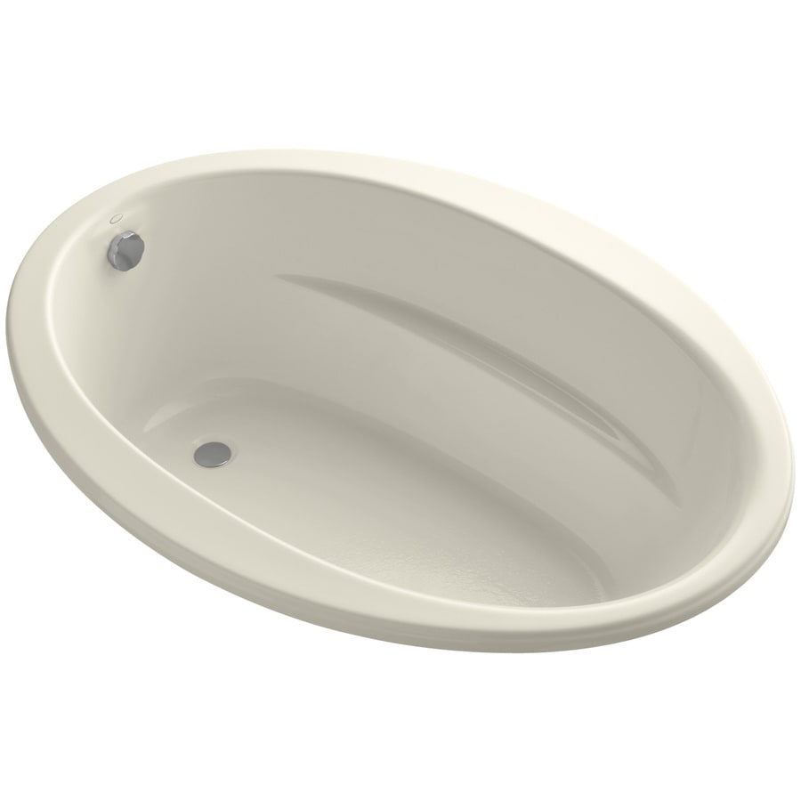 KOHLER Sunward Almond Acrylic Oval Drop-in Bathtub with Reversible Drain (Common: 42-in x 60-in; Actual: 20-in x 42-in x 60-in)
