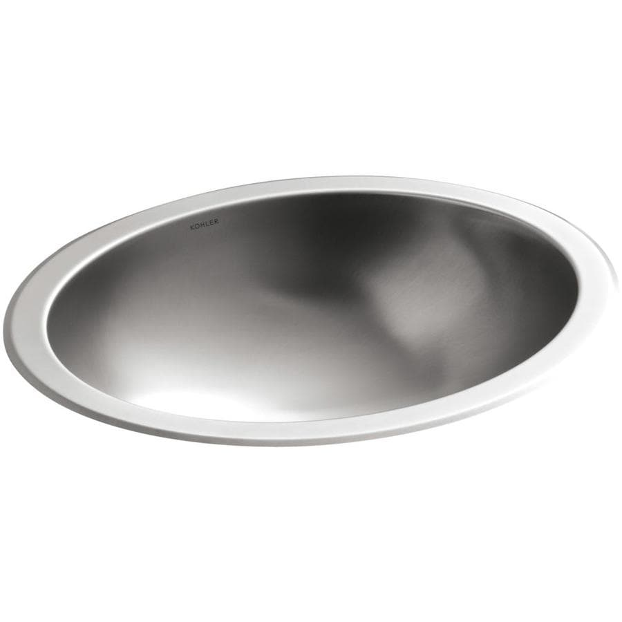 Shop kohler bachata stainless steel drop in or undermount oval bathroom sink at Stainless steel bathroom vanities