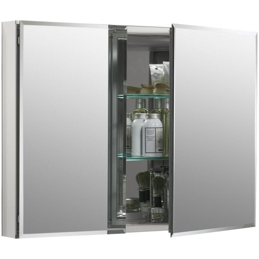 Shop KOHLER 35-in x 26-in Rectangle Recessed Aluminum Mirrored ...