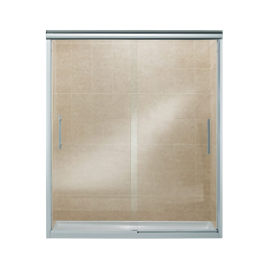 Sterling Finesse 56.625-in to 59.625-in W Frameless Silver Sliding Shower Door
